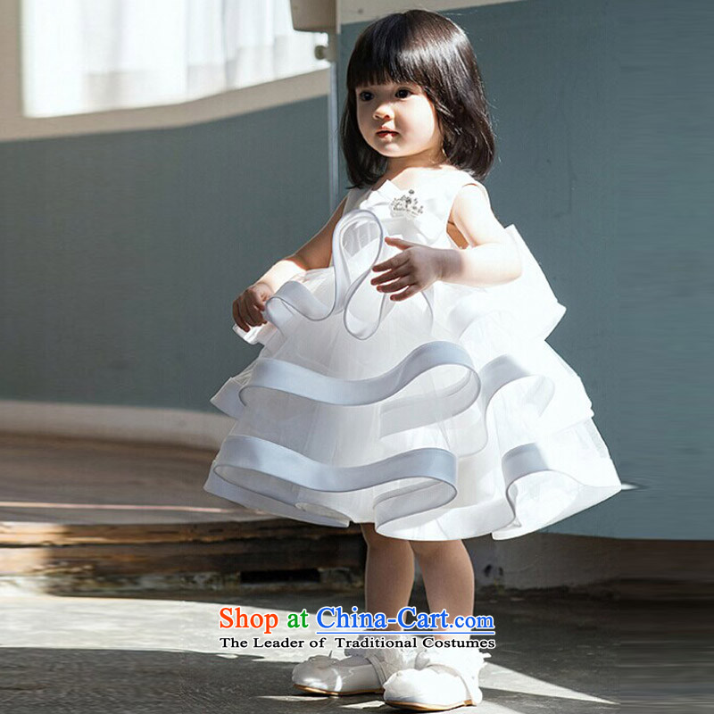 Custombranded clothes high end hanakimi Flower Girls wedding dresses bridesmaid princess skirt bon bon skirt Show Photographic birthdays K15049 m White delivery12t/150cm 7-12