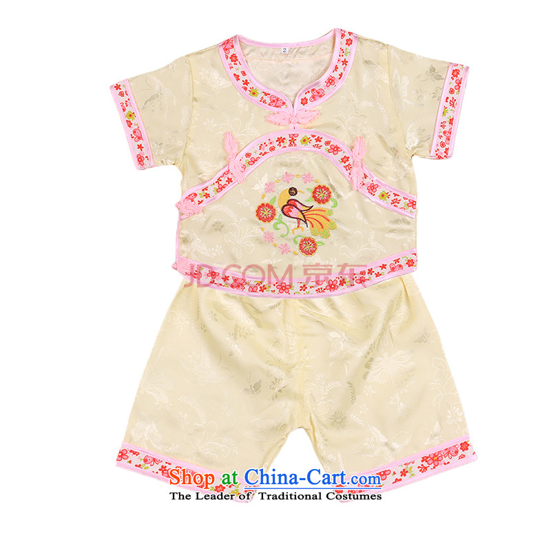 Tang Dynasty children Tang dynasty baby girl cheongsam damask Siu Fung fairy boy shorts, short-sleeved packaged New Concert 4665 summer clothing Yellow 90