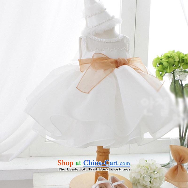 Custom branded clothes high end hankimi girls Snow White performances staged Flower Girls skirt wedding dress bon bon skirt dance service delivery m White K15064 12t/150cm 7-12