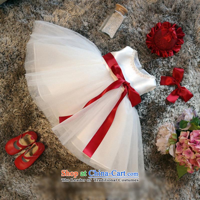 Custombranded children's wear Korean hanakim new girls white wedding dress skirt Princess Snow White bon bon dresses K15068 m White delivery12t/150cm 7-12
