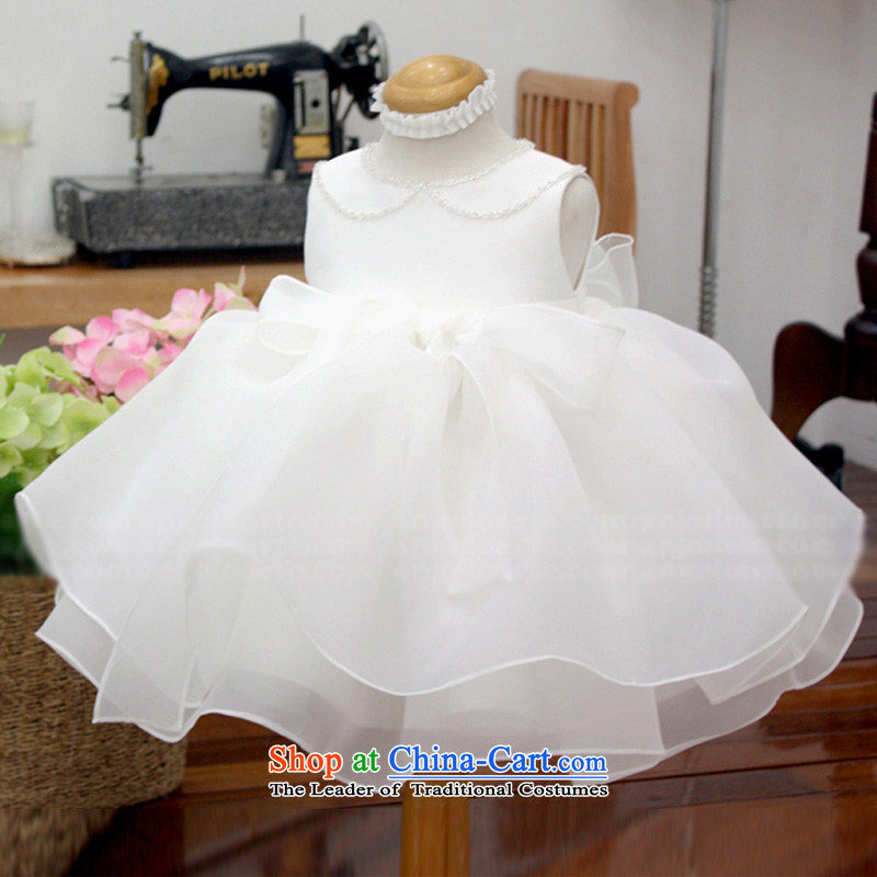 Custom branded children's wear Korean hanakimi high-end new Children's dress skirt Flower Girls Princess skirt to live piano music bon bon skirt K15070 m White delivery 12t/150cm 7-12