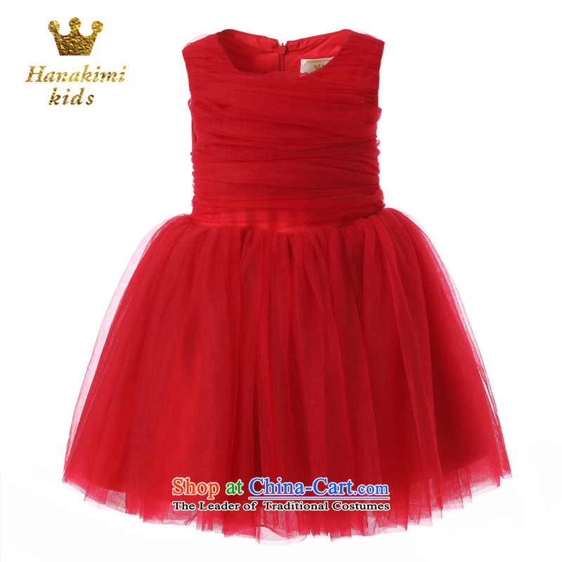 The British father of children's wear under the brandname hanakimi back with sweet Xin girls bon bon soft and comfortable dance yarn banquet dresses red 140cm custom 7-12 Day Delivery