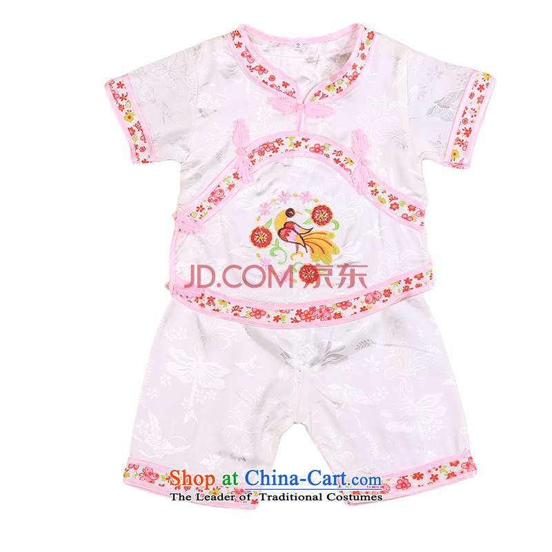Tang Dynasty children Tang dynasty baby girl cheongsam damask Siu Fung fairy boy shorts, short-sleeved packaged New Concert 4665 Summer services white 90