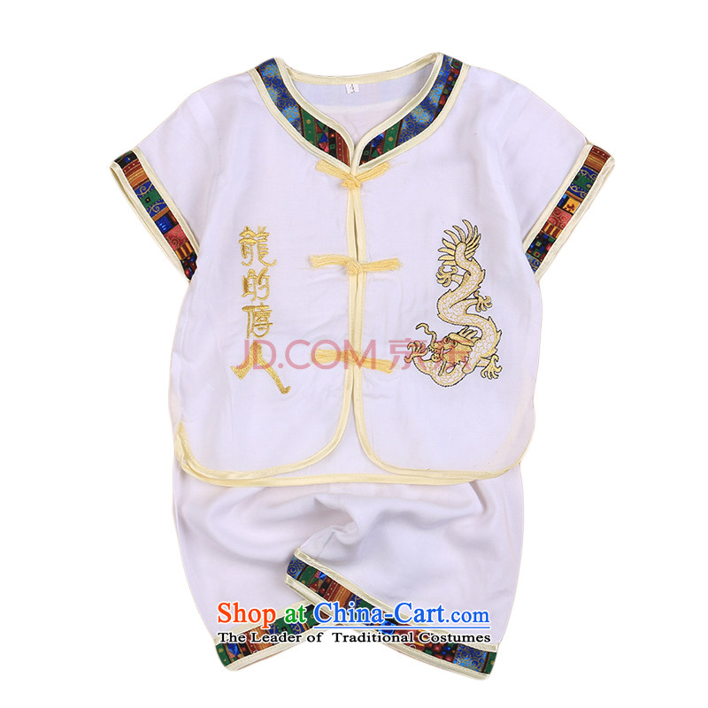 Offer new types of child-Tang Dynasty Chinese baby cotton linen Tang dynasty boy short-sleeved Tang casual ethnic summer our 4676th White 90CM