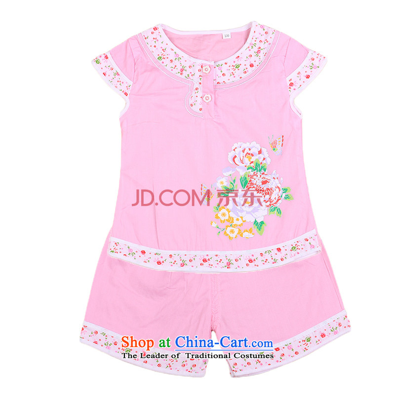 Tang Dynasty female babies children age summer sleeveless + shorts brocade coverlets Birthday holiday dress small children's wear infant 4810 Pink