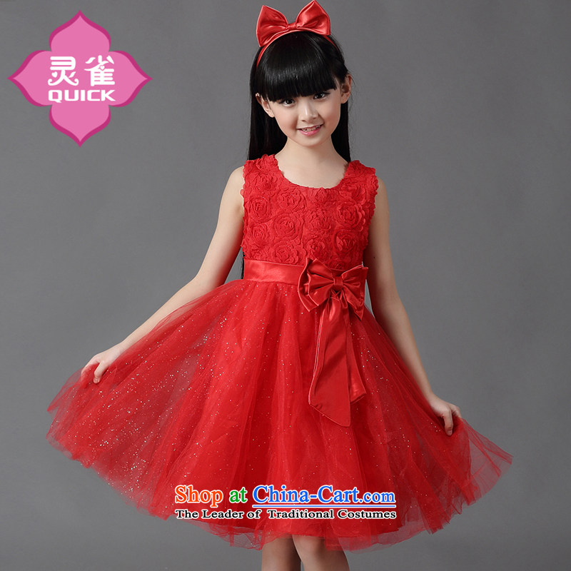 The spirit of children's wear under the 2015 Summer birds new girls skirt 15 children princess skirts bon bon wedding dress Korea CUHK child skirt 074 red sleeveless gown skirt red?150 suitable for children Paras. 135-145