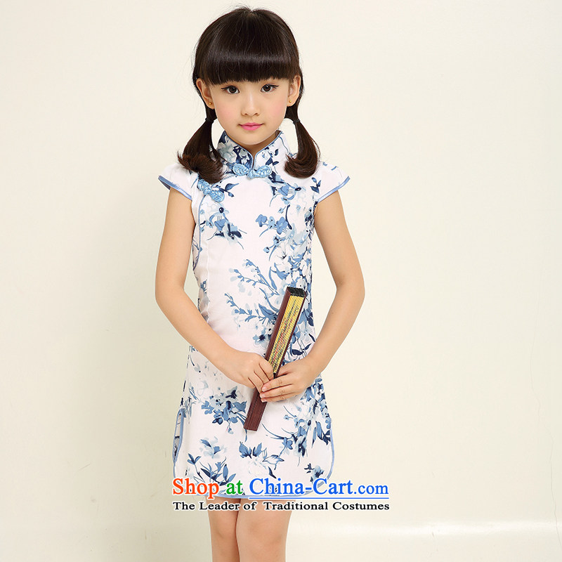 Summer Children qipao girls Tang dynasty princess skirt pure cotton Da Tong Zheng will national small girls qipao celadon new Arabic picture color 6 160 small a code