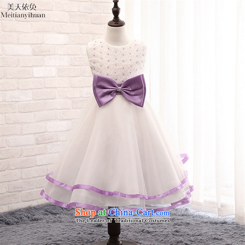 Korean girls dresses Bow Tie Pearl Flower Princesses bon bon skirt gauze child skirt red聽130cm
