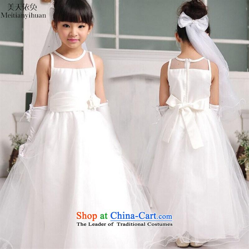 The Korean version of the new 2015 girls dresses quality twine bow knot gauze princess long skirt white�150cm