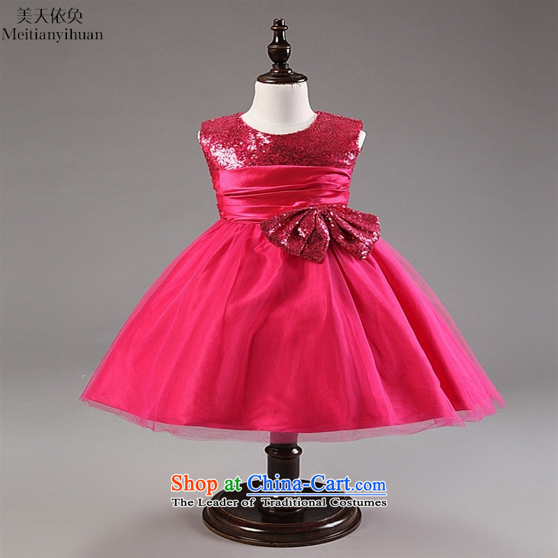 Children's Wear Korean version of large bow tie dresses quality girls skirt on small wedding dresses, red in the skirt explosions聽130cm