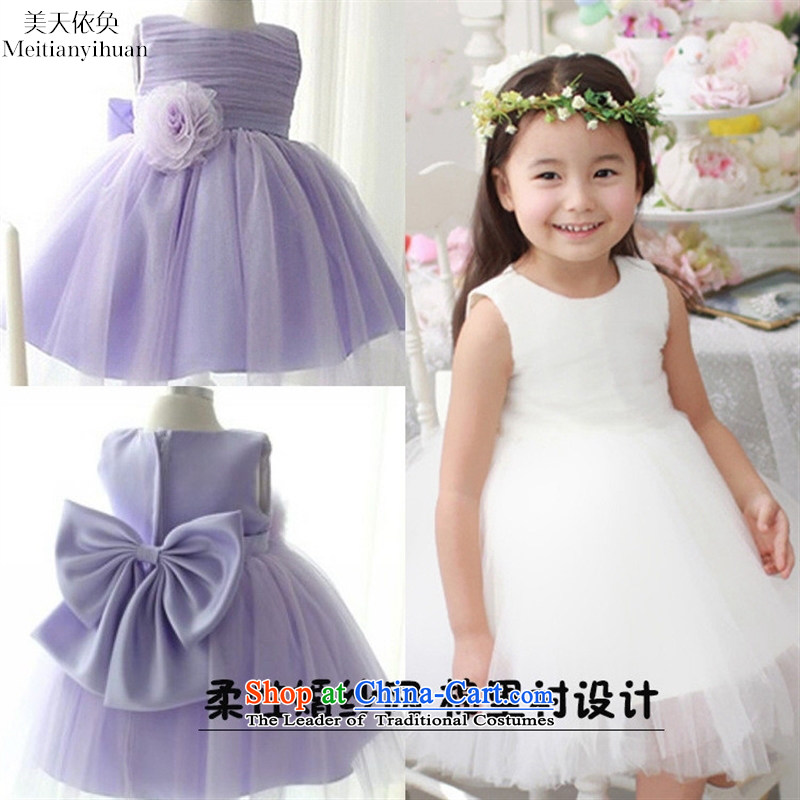 2015 girls dresses summer Korean Flower Girls Princess skirt cotton lining children dress skirt purple _100_ pure cotton liner_ 130cm