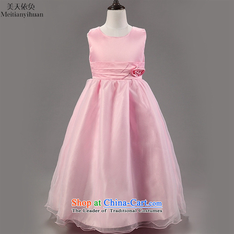 The girl child princess long skirt quality girls dresses stereo flowers dress child skirt white聽150cm
