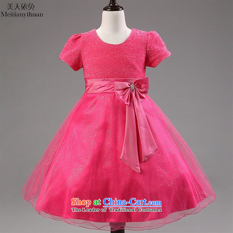 The Korean version of the new 2015 children's wear, princess dresses of small and medium-sized girls bow tie dress skirt around the Red8