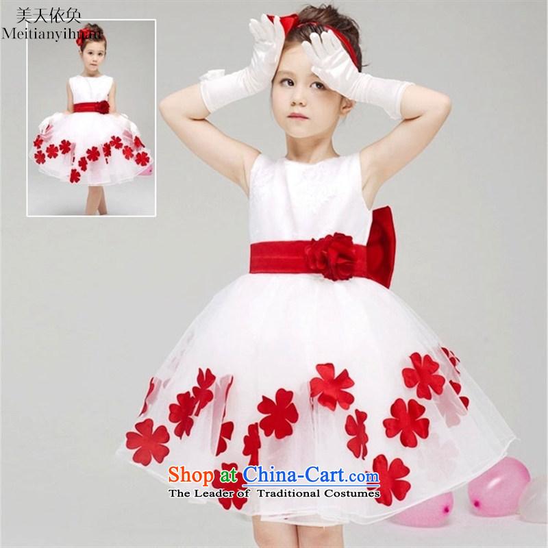 Children's Wear Korean girls Summer Wedding dress skirt girls princess suits skirts petals of skirt red?130cm