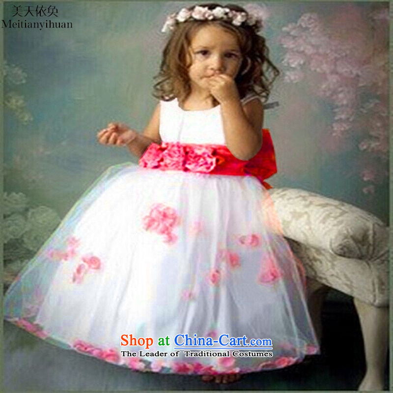 Europe and the princess Flower Girls skirt girls show bon bon dresses wedding dress of children's wear red 130cm