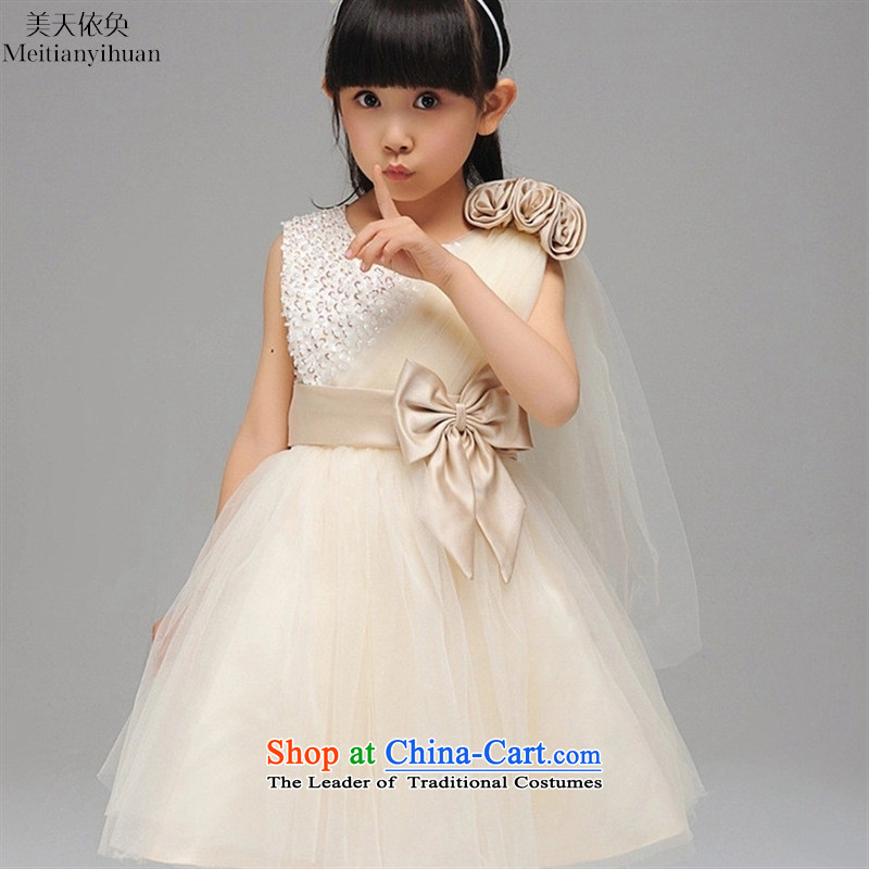 Temperament Single Beveled Shoulder girls dresses Korean staple Pearl Flower Girls dress princess' skirts white 120cm