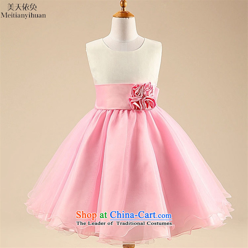 2015 Summer, children's wear skirts girls dresses gauze flowers princess dress Flower Girls skirt pink聽130cm