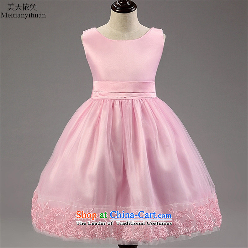 Korean girls skirt large bow tie dresses lace princess skirt girls children in red 130cm
