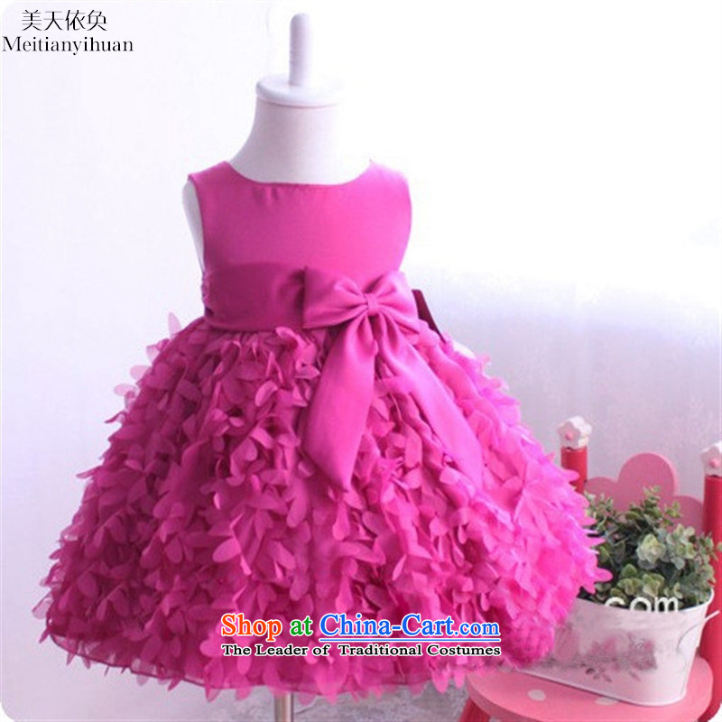 2015 girls saika dresses lovely bow tie children's wear skirts child princess red聽130cm