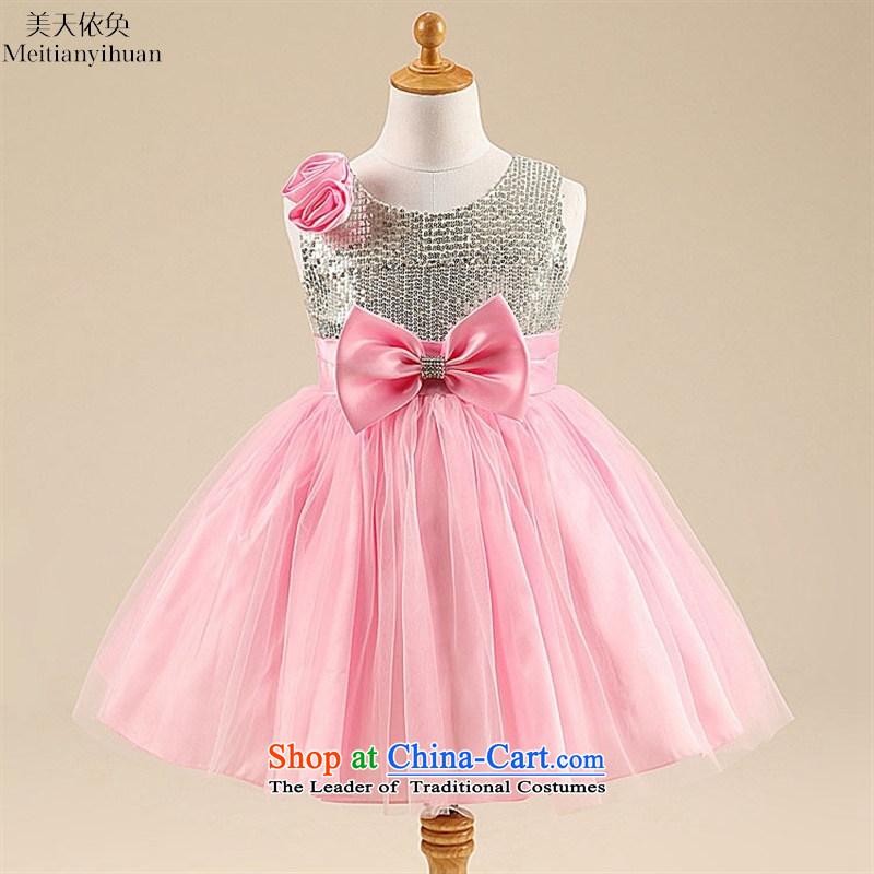 Summer rose bright big bow tie princess dress skirt Korean girls pink dresses 130cm
