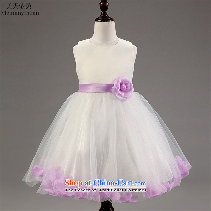 The girl child princess dresses Korean flower petals edge flower girls' skirts Blue聽130cm dress