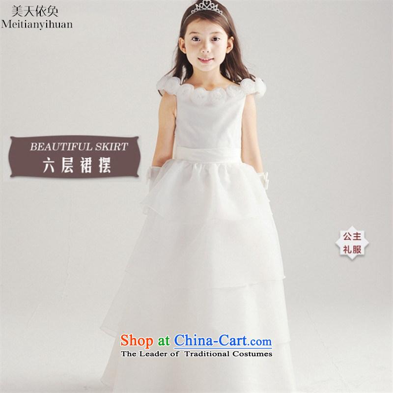 Quality white wedding dresses girls WESTERN PRINCESS Flower Girls skirt six storey petticoats long skirt white?130cm
