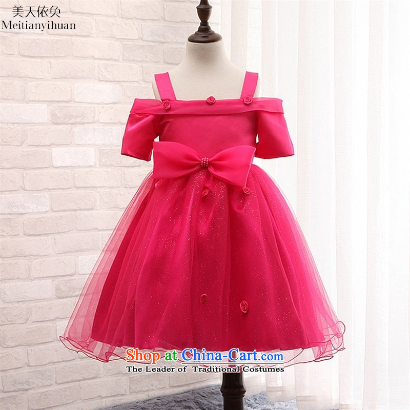 2015 girls' skirts, burglary Korean version of the new summer terrace shoulder straps Flower Girls Princess dress skirt pink�130cm