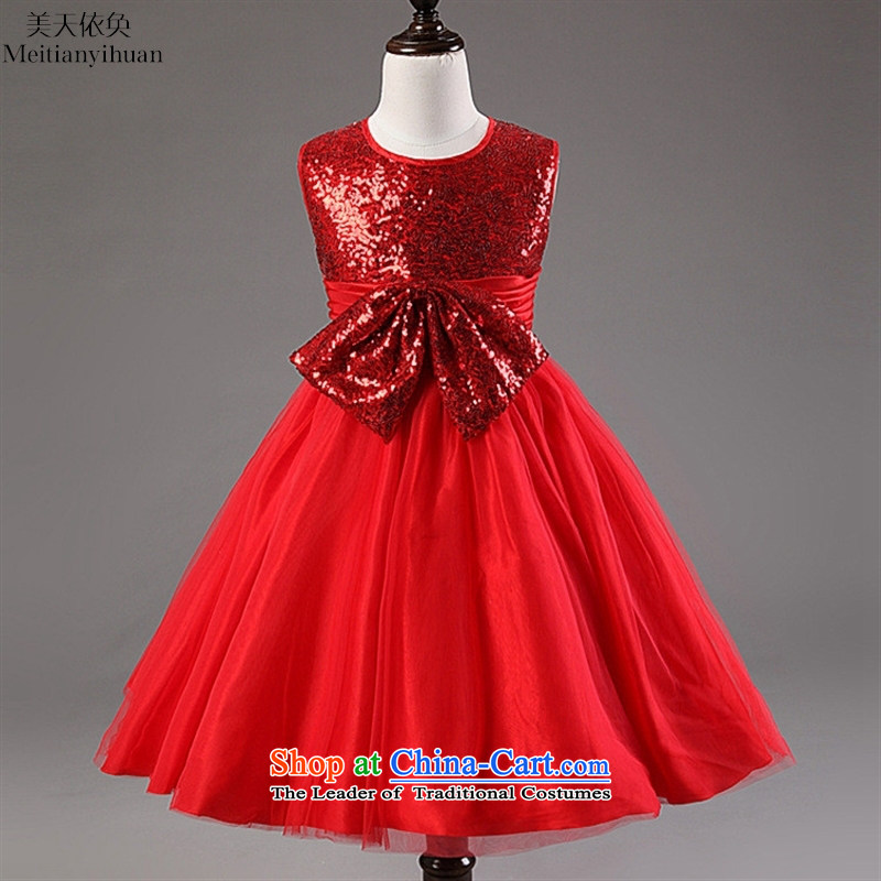 Children's Wear Korean Bow Tie dresses girls princess dresses on small dress in red聽130cm