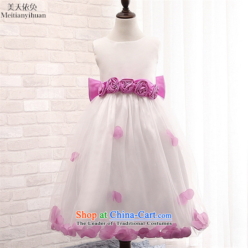 Mr Ronald, Korean girls dresses cuhk child sleeveless petals gauze princess dress skirt purple聽130cm