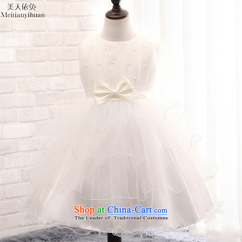 The new version of the 2015 Korean girls dresses parquet Pearl Flower Girls web wedding dresses Bow Tie Princess' skirts red130cm