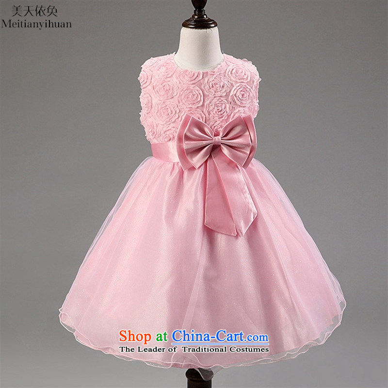 2015 Summer, children's wear girls embroidered bow tie belt princess skirt roses pink dresses 150cm