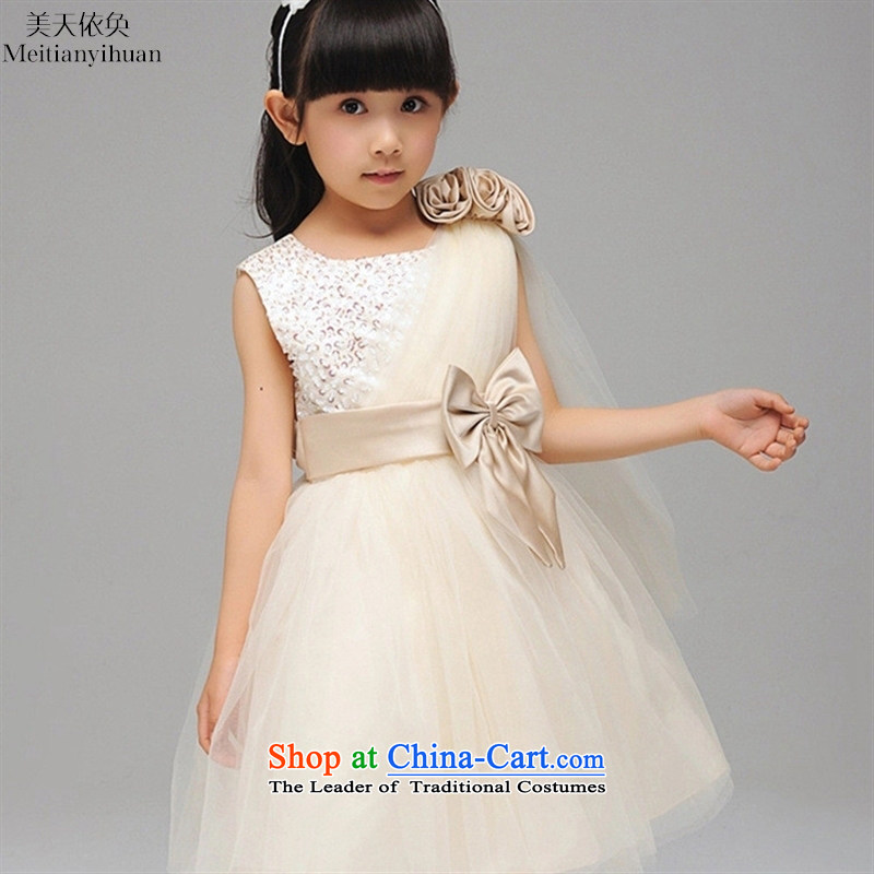 The girl child princess skirt Korean champagne bon bon dresses Flower Girls 61 girls skirt Red Dress 130cm