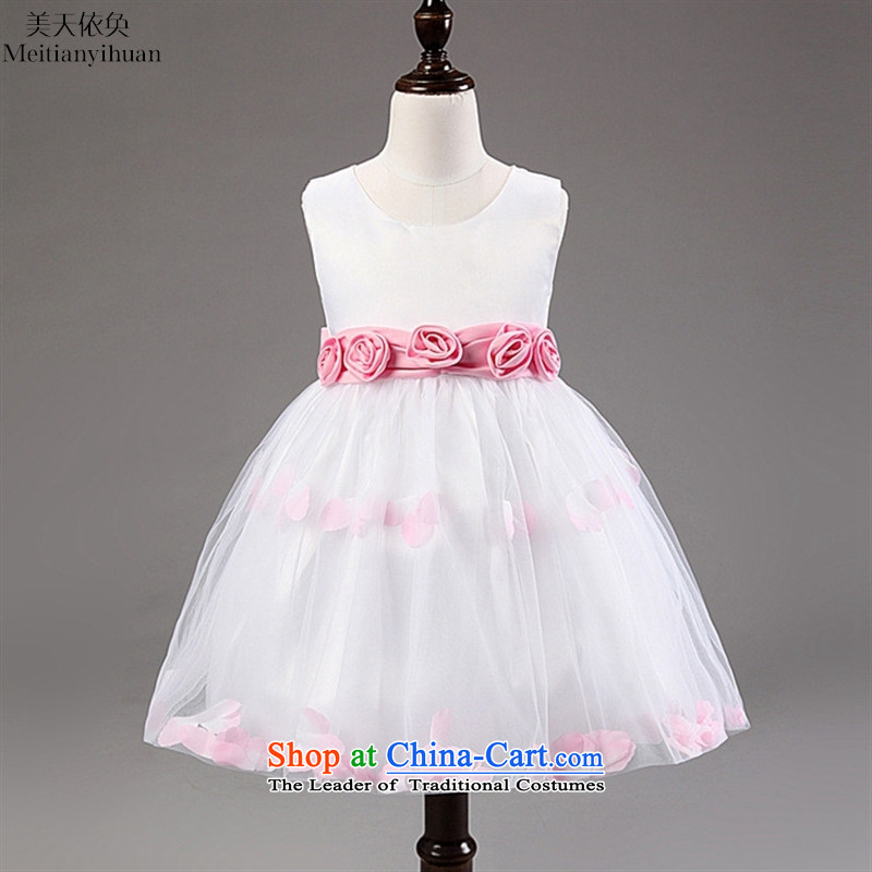 The girl child dresses stereo flowers of children and of children's wear skirts princess red聽130cm