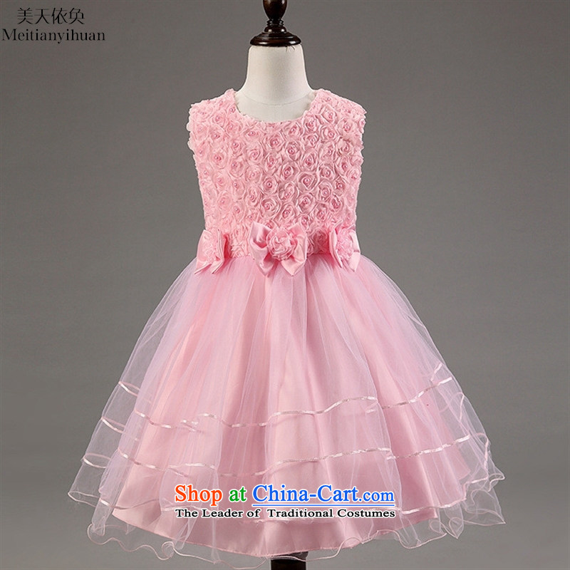 The girl child dresses summer new Flower Girls dress skirt Bow Tie Princess flowers skirt pink 150cm