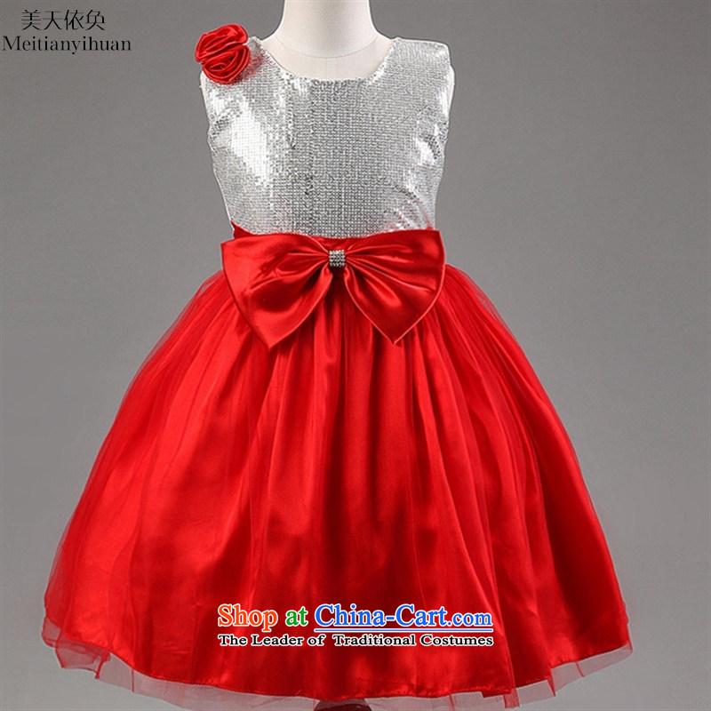 2015 new exterior light slice princess wedding flower girls dresses skirt girls bow tie dresses red130cm