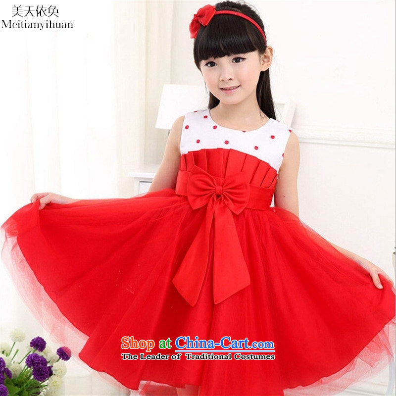 The girl child dresses Korean Bow Tie dresses, child skirts explosions red聽130cm