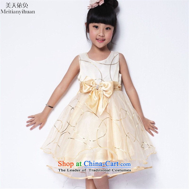 The new summer girls dresses explosions of Korean Bow Tie dress Flower Girls skirt Yellow聽130cm
