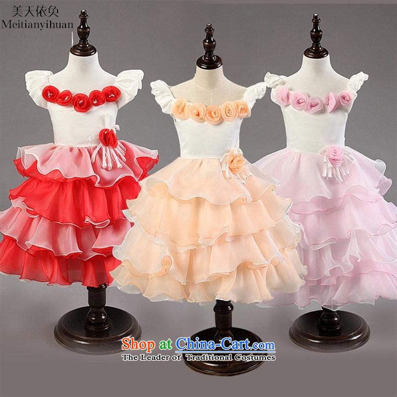 Ultra short-sleeved girls dresses spell color of small and medium-sized child dress skirt princess skirt toner orange130cm