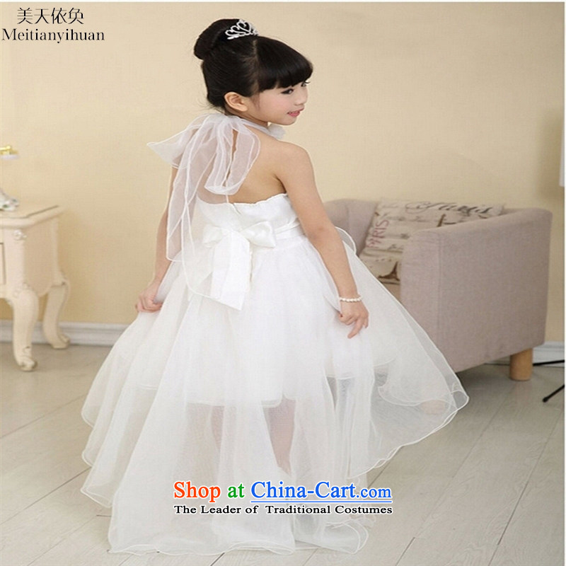 2015 new child skirt children dresses girls tail princess skirt dress wedding dress white 120cm
