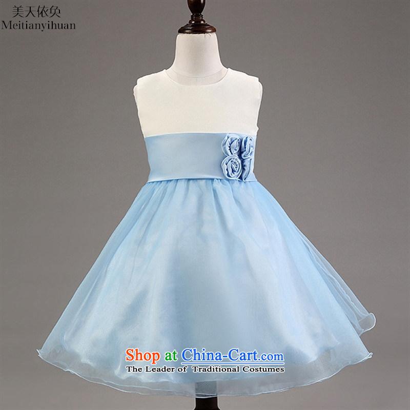 The new children's wear, Korean University Summer girls dresses spell color Flower Girls Princess skirt Blue�130cm