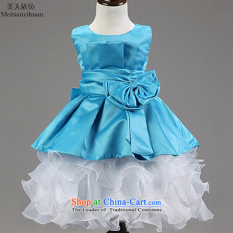 2015 Spring_Summer new children's skirt bow ties small children's wear dresses white聽130cm