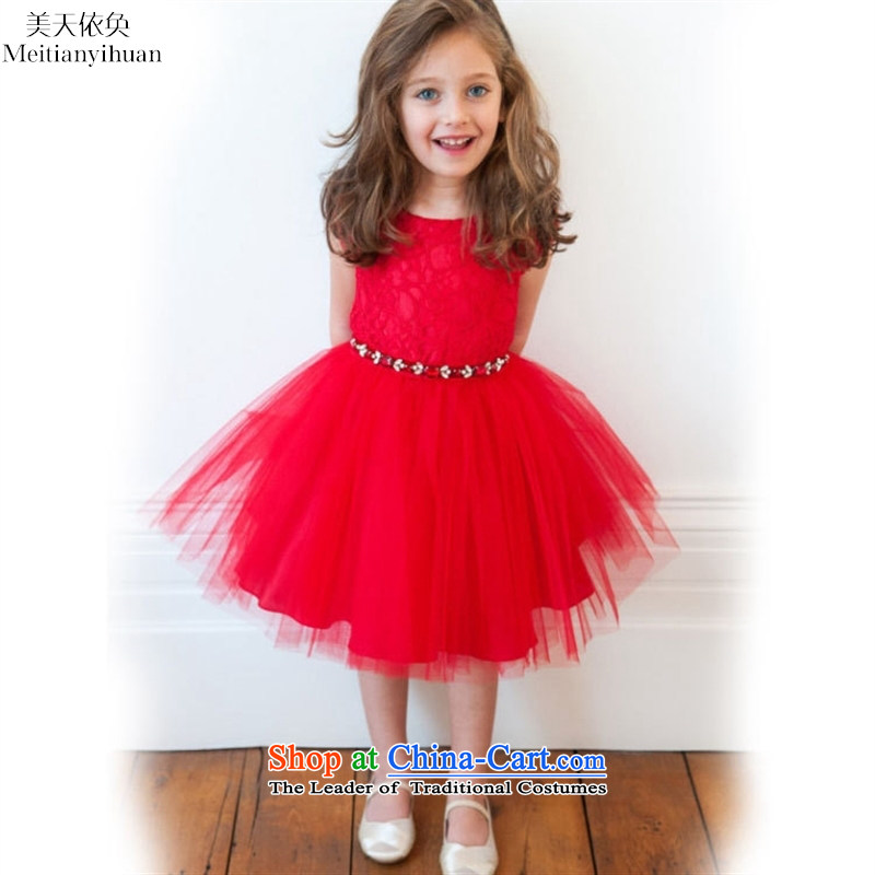 New lace pattern princess dresses of the girl child and of children's wear skirts dresses children bon bon skirt red 130cm