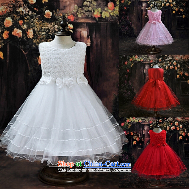 The new children's wear sleeveless Flower Girls dress girl children bow tie dresses red聽130cm