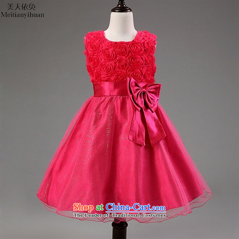 Explosions of twine bow knot girls dresses flower girl children dress skirt child children's wear skirts of red聽150cm