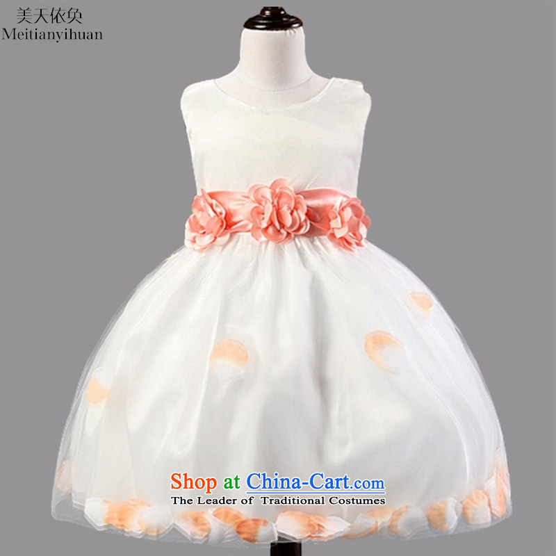 The Korean version of the Flower Girls Princess skirt girls show bon bon dresses wedding dress of children's wear girls pink 130cm