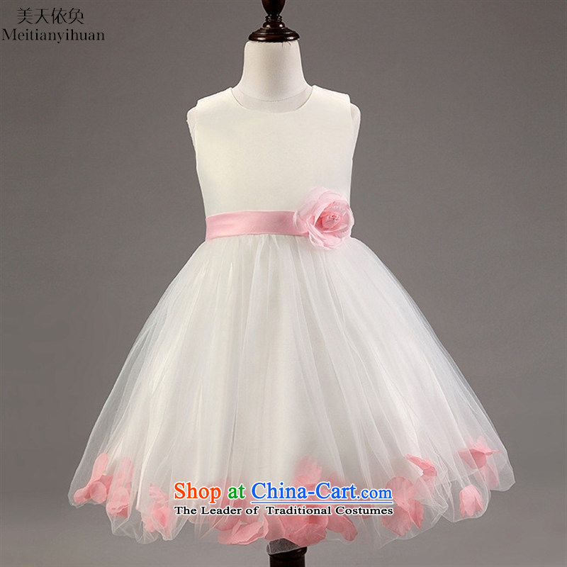 Summer children's wear girls petals sleeveless princess dresses western child skirt Blue聽130cm