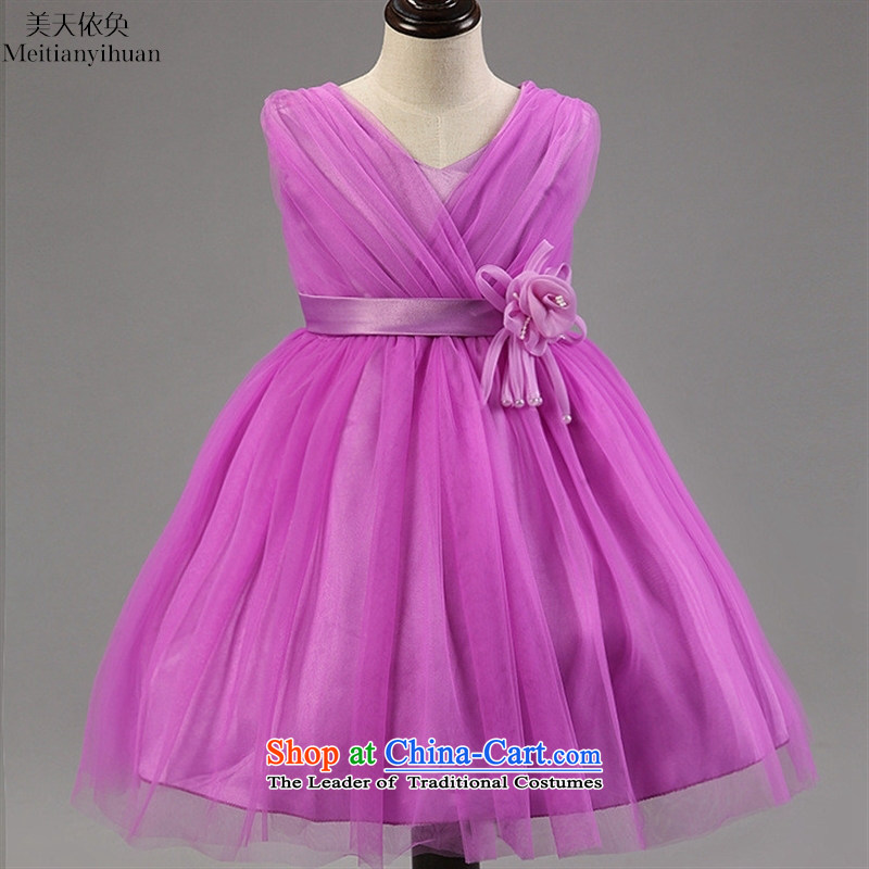Children's dress Flower Girls dress gauze V-Neck dress roses + Pearl Pink dresses decorated belts 130cm
