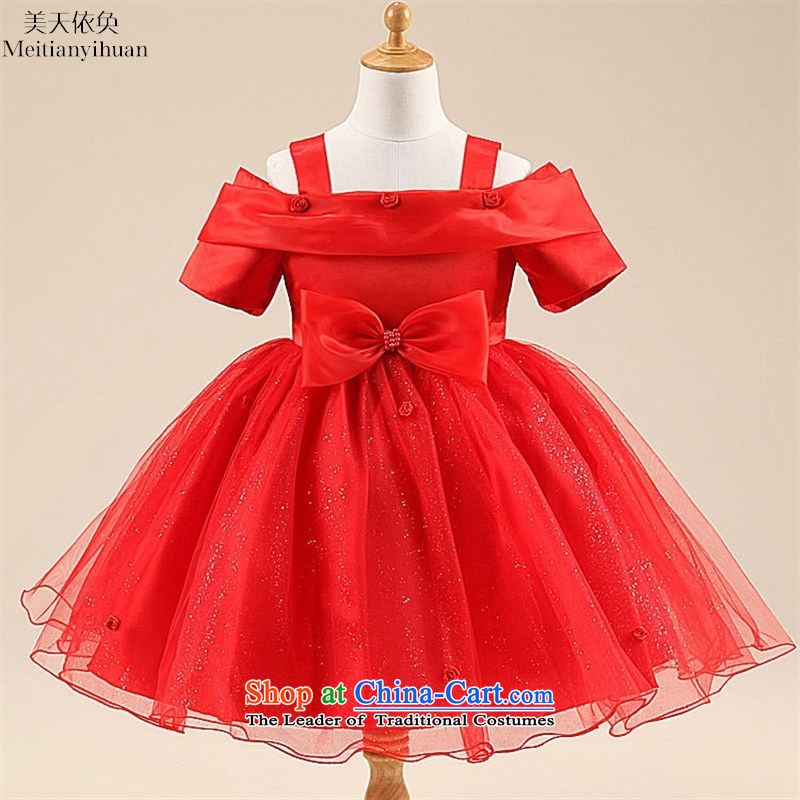 2015 Summer Bow Tie roses princess skirt covered shoulders girls skirt wedding dress skirt red聽130cm