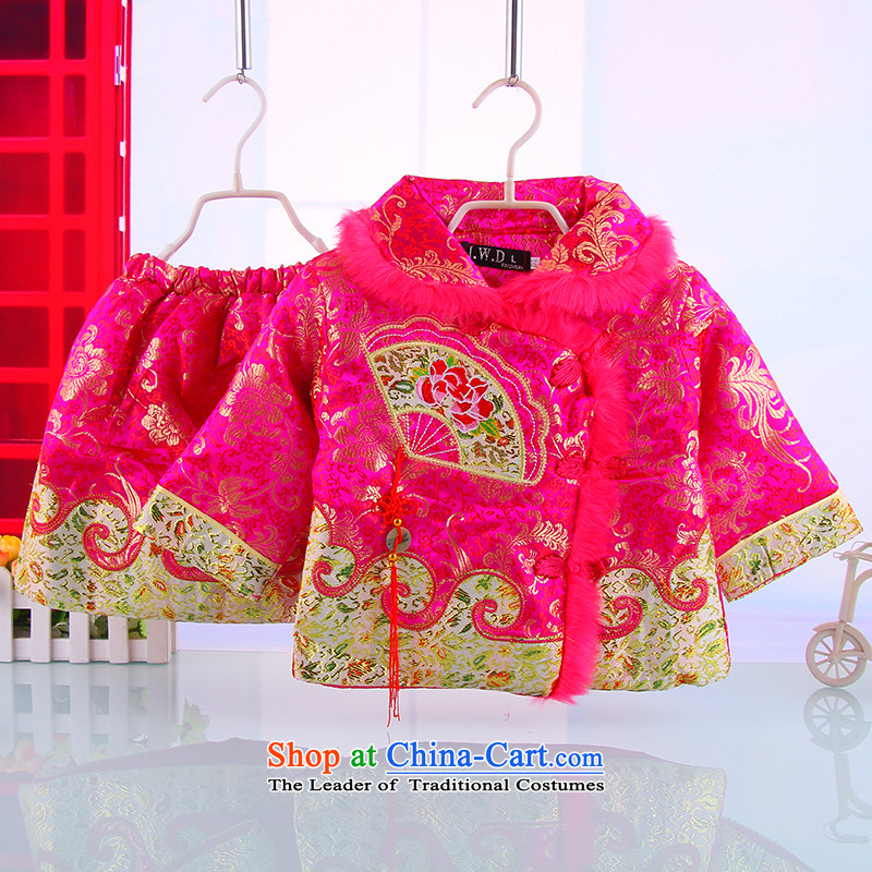 Winter new women's baby Tang Dynasty Package girls winter clothing away warm Tang Kit skirt rose聽100