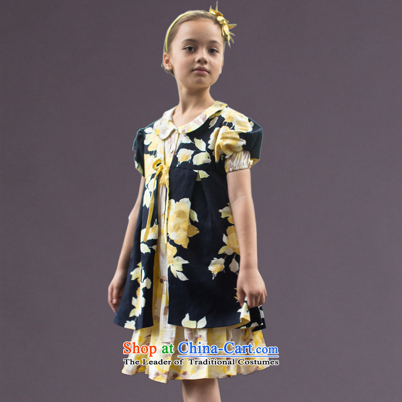 Ceye high-end original children to live piano music services girls dress princess skirt costumes yellow